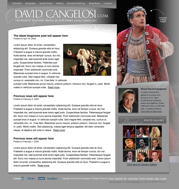 Opera Singer Website Design
