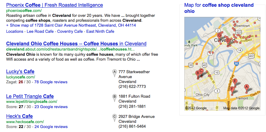 Search for coffee shop local results