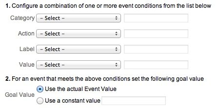 Event Based Goals in Google Analytics