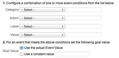 Event Based Goals in Google Analytics