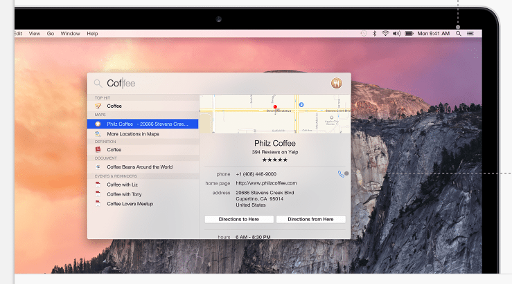 Web Search Results in Yosemite