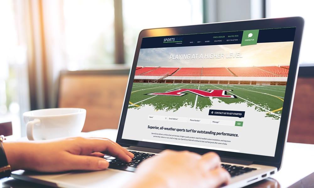 SportsGrass website on Laptop