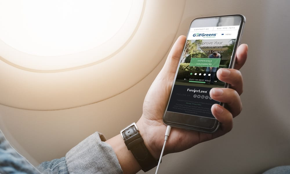 GolfGreens website on Mobile Phone