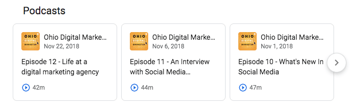 Ohio Digital Marketer podcasts showing up in Google Search results.