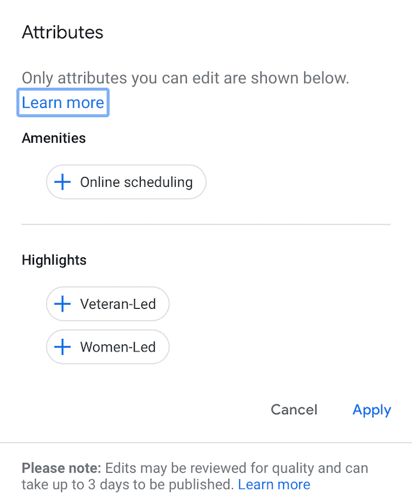 Attributes in Google My Business