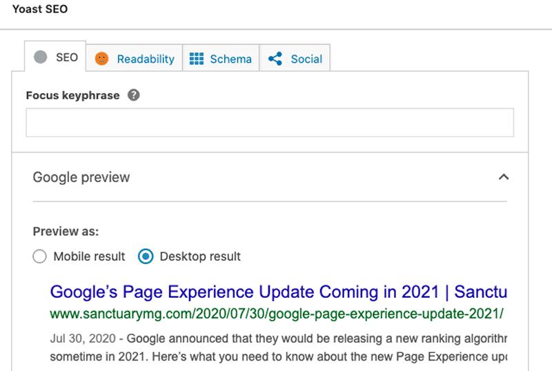 Yoast SEO plugin on a WordPress website