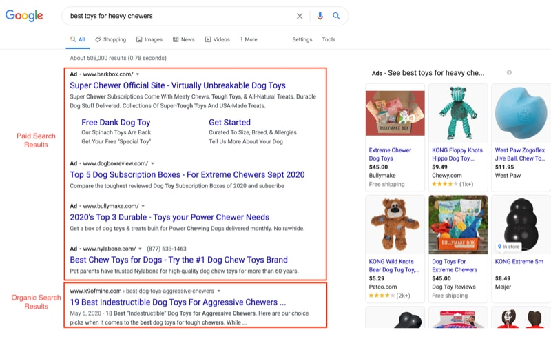 paid vs organic search results